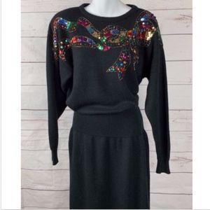 894ba603cd3 Darian Ugly Christmas Sweater Dress Sequins Beads
